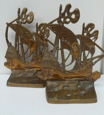 Art Deco Brass Galleon Sailing Ship Book Ends