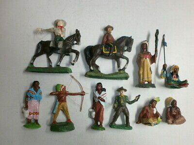 Konvolut 10 alte Durolin Massefiguren Wildwest Indianer Cowboys Mounty zu 7.5cm