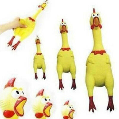 Funny Yellow Screaming Rubber Chicken Pet Dog Toy Squeak Squeaker Chew Gift