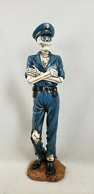"Halloween Police Officer Skeleton Costume Figurine 12"" Table Top Decor New"