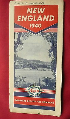 1940  New England road map  Esso gas oil  pictorial guide inserts Providence