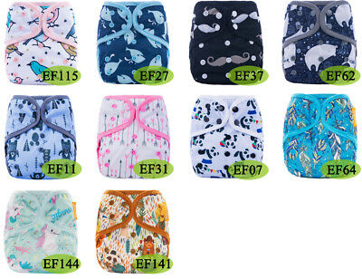Happy Flute Organic Cotton Newborn Diapers AIO Cloth Diaper Double Gussets 3-5kg