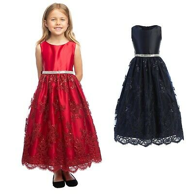 Navy Blue Red Flower Girls Satin Lace Dress Christmas Wedding Holidays Party New