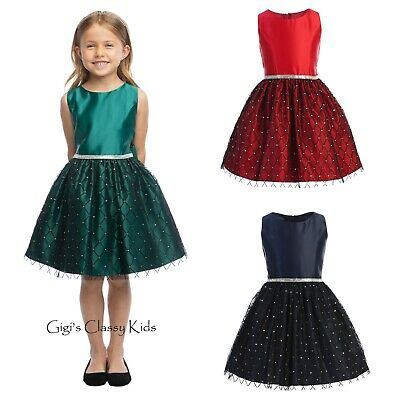 Flower Girls Flocked Diamond Mesh Satin Dress Christmas Wedding Party Holidays