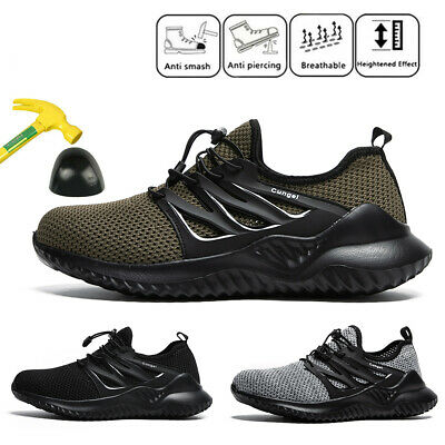 Men's Safety Lightweight Work Shoes Steel Toe Boots Indestructible Mesh Sneakers
