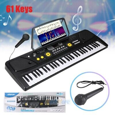 61 Key Music Digital Electronic Keyboard Electric Piano Organ w/ Music Stand&Mic