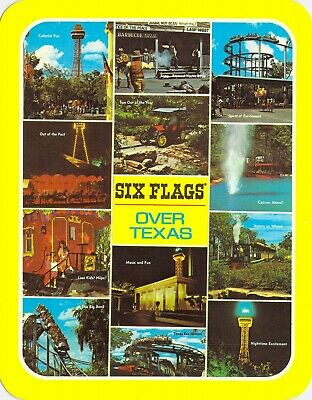 postcard BIG 5.25x6.75 Multi-View Coasters Six Flags Over Texas Arlington, TX