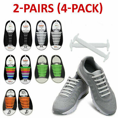 2 Pairs [4-Pack] Easy No Tie Shoelaces Silicone Flat Shoe Lace Strings Adult