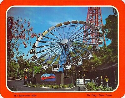 postcard  5.25x6.75 SPINNAKER RIDE Six Flags Over Texas Arlington, TX