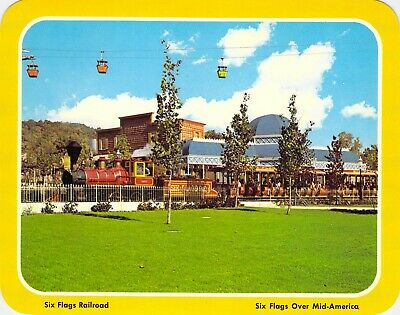 postcard BIG 5.25x6.75 SIX FLAGS RAILROAD Train Six Flags Over Mid-America, MO
