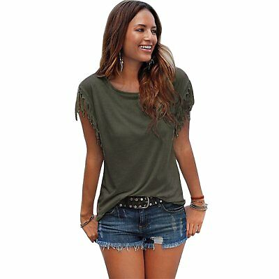 Women's Casual Loose Round Neck Short Sleeve Tassel Stitching T-Shirt Blouse