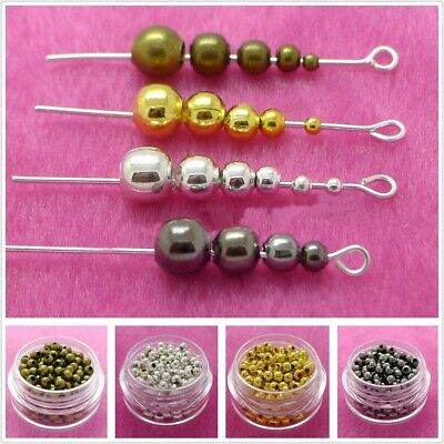 Wholesale Lot Metal Round Spacer Beads 2.5mm 3mm 4mm 5mm 6mm 8mm IL