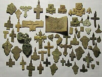 Parts of ancient icons and crosses of the 18th century. lot №18