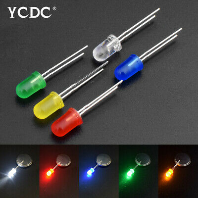 100Pcs Diameter 3mm 5mm Bright Colorful LED Lights Emitting Diodes Beads DIY F9