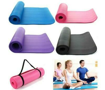 Colorful 15mm Thick Non-slip Yoga Mat Pad Exercise Fitness Pilates with Strap