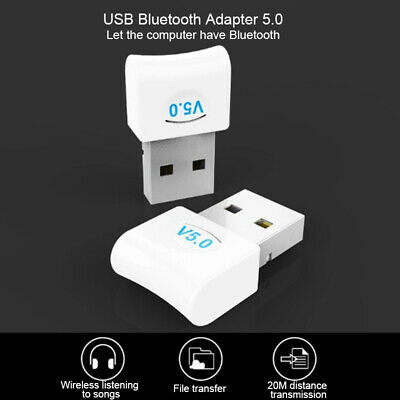 USB Bluetooth 5.0 Adapter Wireless Dongle Stereo TransmitterReceiver PC Win 10,8