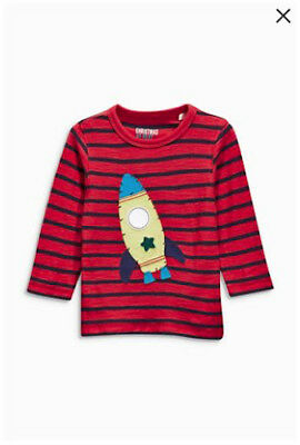 Bnwt Next Red Stripe Rocket Long Sleeve Top, Size 3-4 Years