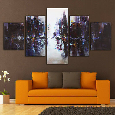 5Pcs Abstract City Modern Canvas Print Art Oil Painting Home Wall Decor Unframed
