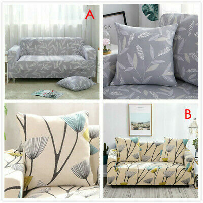 1/2/3/ Sofa Covers Couch Slipcover Stretch Elastic Fabric Settee Protector Grey