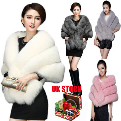 UK Bridal Faux Mink Fur Shawl Wrap Shrug Warm Coat Wedding&Dress Stole Cocktail