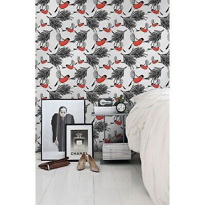 Bullfinches and tree removable Wallpaper white mural Self Adhesive Peel & Stick