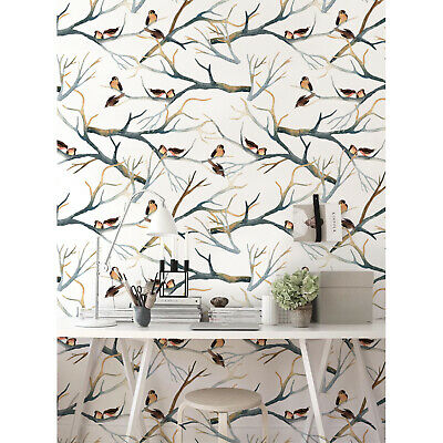 Removable Wallpaper adhesive Sparrows on branches Vintage Watercolor Pattern