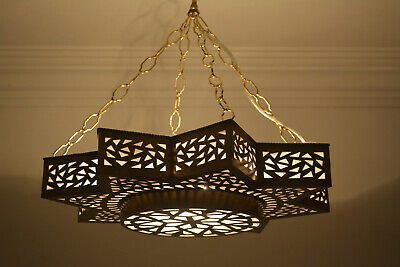 "Moroccan 20"" Oxidize Gold Brass Star Chandelier Ceiling Light Fixture Lamp"
