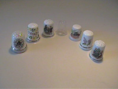 Lot Of Vintage Bone China, Porcelain & Glass Collectible Sewing Thimbles