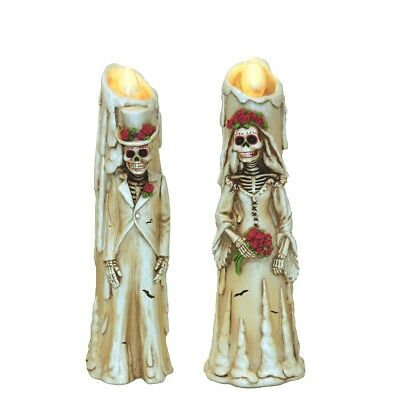 Day Of The Dead Skeleton Flickering LED Candle Figurines Set of 2 Halloween New