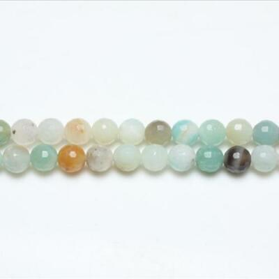 Amazonite Faceted Round Beads 6mm Multicolour 62+ Pcs Gemstones Jewelry Making