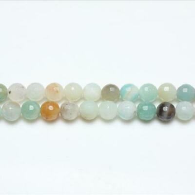 Amazonite Faceted Round Beads 8mm Multicolour 44+ Pcs Gemstones Jewelry Making