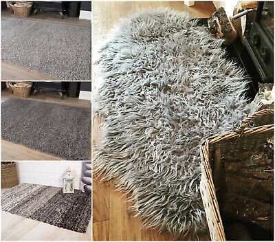 Grey Deep Thick Non Shed Cosy Fluffy Bedroom Shaggy Sheepskin Living Room Rugs