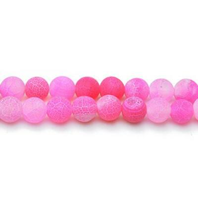 Cracked Agate Round Beads 8mm Fuchsia 45+ Pcs Gemstones Jewelry Making Crafts