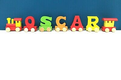 Christening Gift Idea Personalized Colorful Wooden Train  Alphabet 26 letters