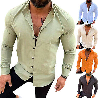 Mens Long Sleeve Casual Shirts Muscle Slim Fit Plain Formal Tops Blouse T Shirt