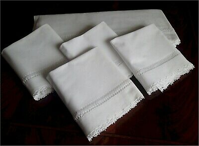 Gorgeous Vintage Bed Sheet Plus 4 Pillow Cases Crocheted Lace Drawnwork Inset