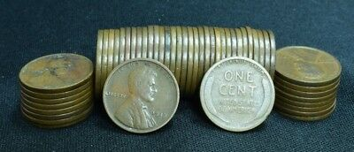 1919-P LINCOLN WHEAT PENNY CENT ROLL GOOD G!!!