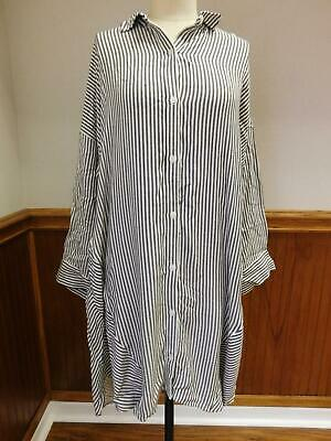 $118 New Madewell Womens Stripe-Play Shirtdress Dress Black White Small L G9366