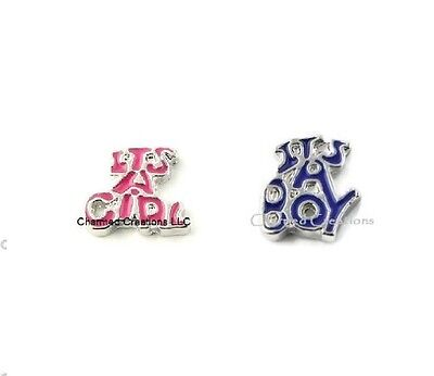 10pc Lot Its A Boy Or Girl Floating Charms For Glass Memory Lockets Baby New Mom