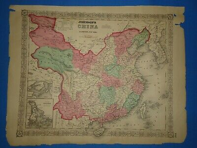 Vintage 1868 CHINA  Map Old Antique Original Johnson's Atlas
