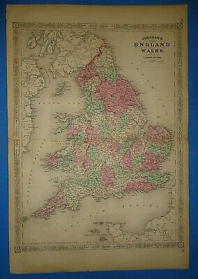 Vintage 1868 ENGLAND Map Old Antique Original Johnson's Atlas