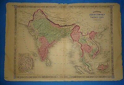 Vintage 1868 INDIA - SOUTHEAST ASIA Map Old Antique Original Johnson's Atlas