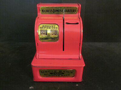 Vtg Western Stamping Corp RED Uncle Sam's 3 Coin Register Bank w Money Inside