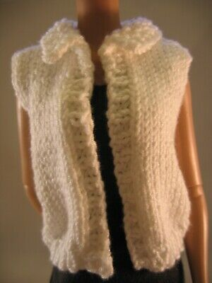 "Doll Clothes WHITE SLEEVELESS SWEATER Hand Knit fit 16"" fashion doll as Tonner"