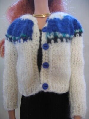 "Doll Clothes WHITE Design Yoke SWEATER Hand Knit fit 16"" fashion doll as Tonner"