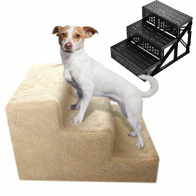 Pet Dog Climb Stairs 3 Steps Ladder w/ Cover Cat Puppy Soft Step Ramp Portable