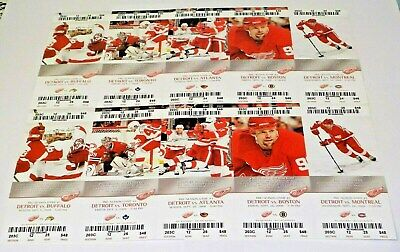 2008 Detroit Red Wings Lot Of 10 Hockey Tickets Unused Zetterberg Datsyuk Hudler
