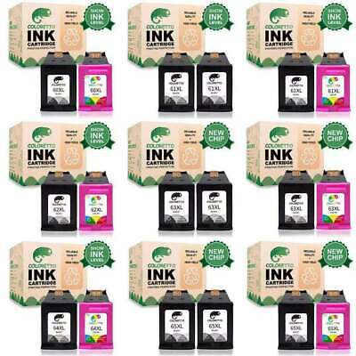 Ink Cartridge Black & Color For HP 60XL 61XL 62 XL 63 XL 65 XL -With New Chip