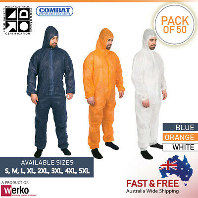 Disposable Polypropylene Coveralls  White, Navy, Orange  Dust Protection Overall