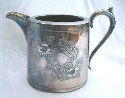 Antique Country Quality Sheffield Silver Plate Epbm Engraved Milk Jug Creamer